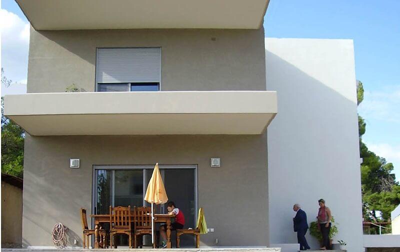 διωροφο σπίτι μετα την εφαρμογή θερμοπροσοψη