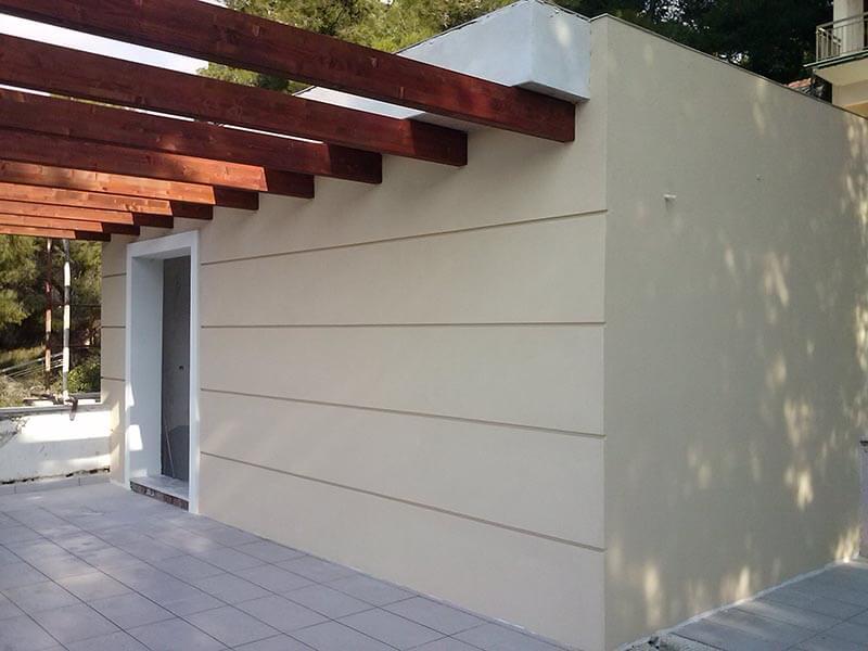 τοίχος σπιτιου όταν ολοκληρώθηκαν οι εργασίες θερμοπροσοψης
