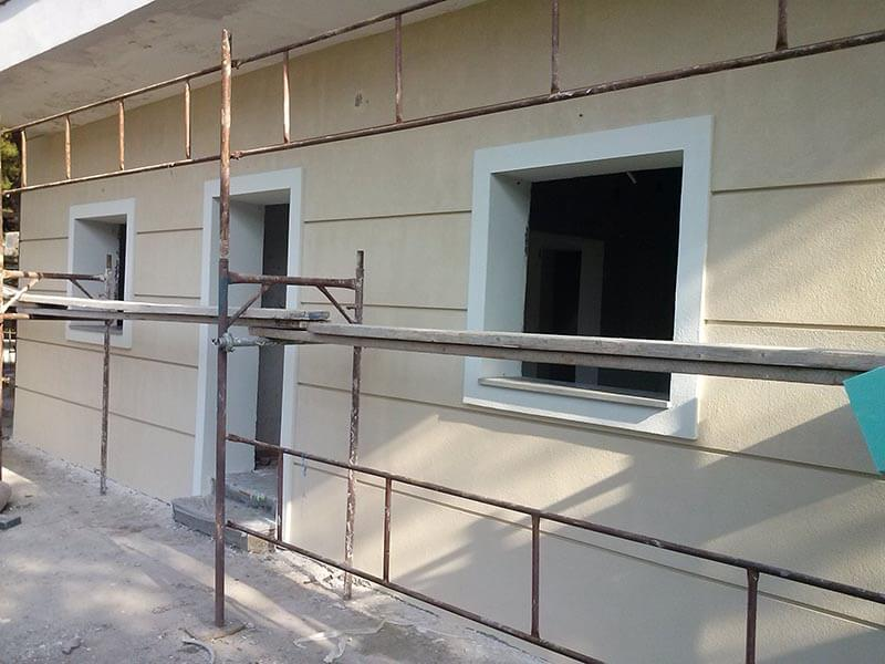 τοίχος σπιτιου όταν ολοκληρώθηκαν οι εργασίες εξωτερική θερμομόνωσης
