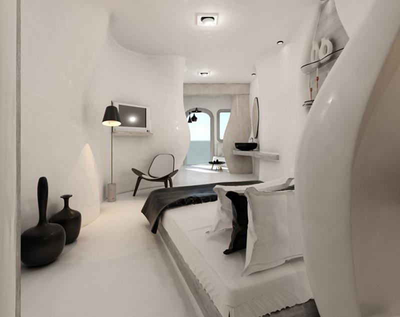 δωμάτιο ξενοδοχείου με πατητή τσιμεντοκονία στο κρεβάτι στο φωτιστικό και στην πόρτα