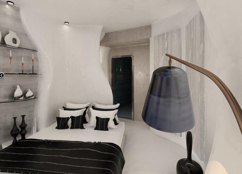 δωμάτιο ξενοδοχείου με πατητή τσιμεντοκονία σε μέρει του τοίχου