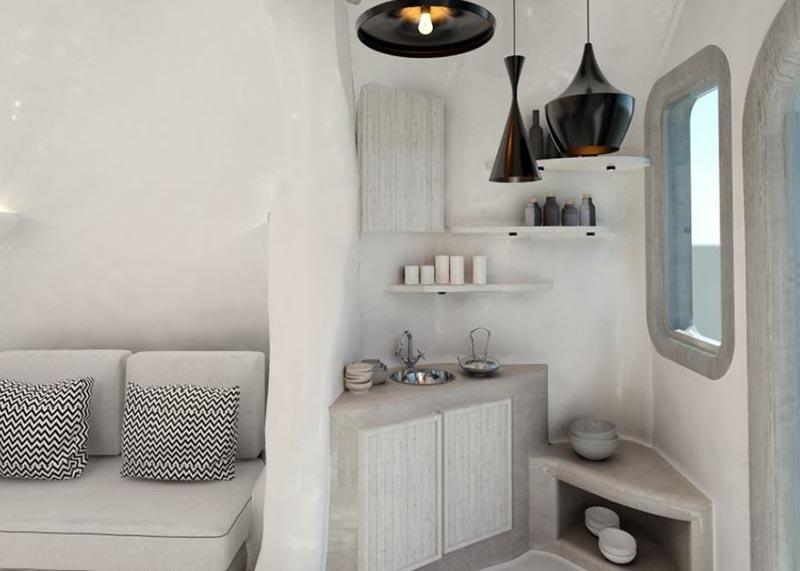 δωμάτιο ξενοδοχείου με πατητή τσιμεντοκονία σε έπιπλα και επιφάνειες