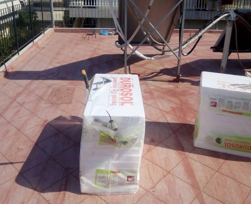 διαδικασία μόνωσης ταράτσας με Durosol Light Rood σε κατοικία στο Ίλιον