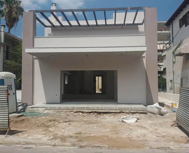 τελειωμένο έργο εξωτερικής θερμομόνωσης σε νεόκτιστη κατοικία στο Μαρούσι