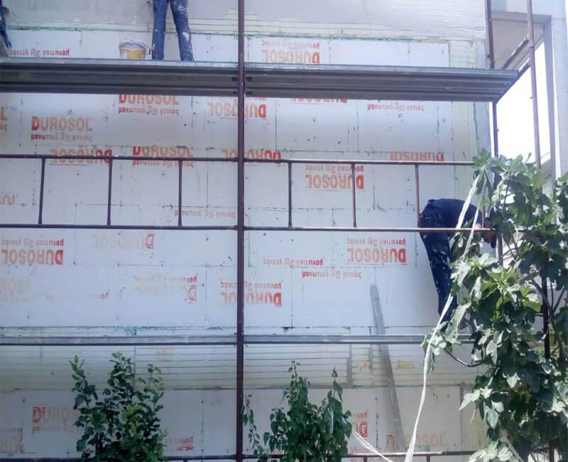 εξωτερική θερμομόνωση σε νέοδμητη κατοικία στο Νέο Ηράκλειο